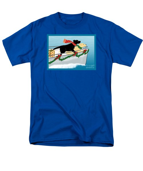 Black And Yellow Labs Boat To Christmas Men's T-Shirt  (Regular Fit)
