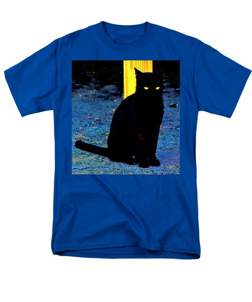 Black Cat Yellow Eyes Men's T-Shirt  (Regular Fit) by Gina O'Brien