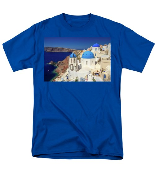 Blue Domed Churches Men's T-Shirt  (Regular Fit) by Emmanuel Panagiotakis