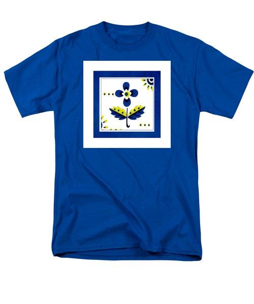 Blue Flower Illustration Men's T-Shirt  (Regular Fit) by Bonnie Bruno