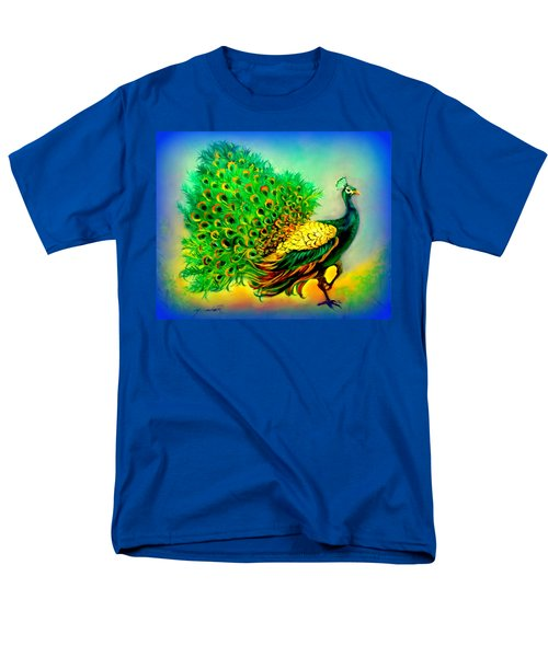 Men's T-Shirt  (Regular Fit) featuring the painting Blue Peacock by Yolanda Rodriguez