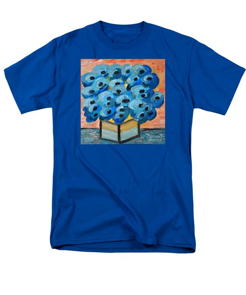Blue Poppies In Square Vase  Men's T-Shirt  (Regular Fit) by Ramona Matei
