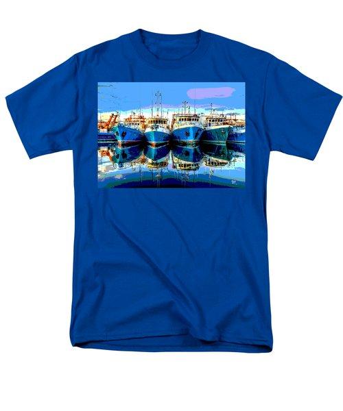 Blue Shrimp Boats Men's T-Shirt  (Regular Fit) by Charles Shoup