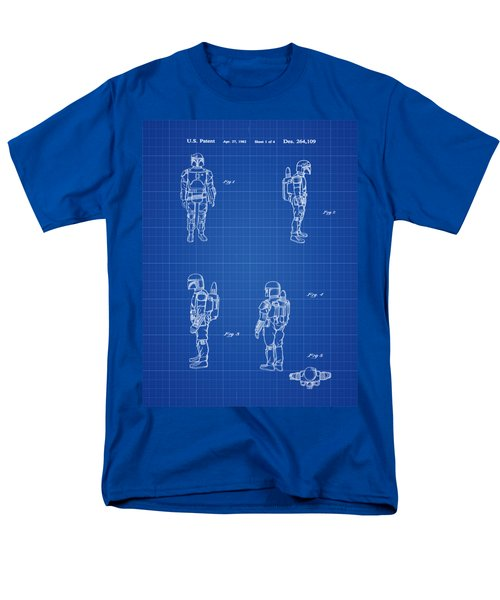 Men's T-Shirt  (Regular Fit) featuring the photograph Boba Fett Toy Patent 1982 In Blue Print by Bill Cannon
