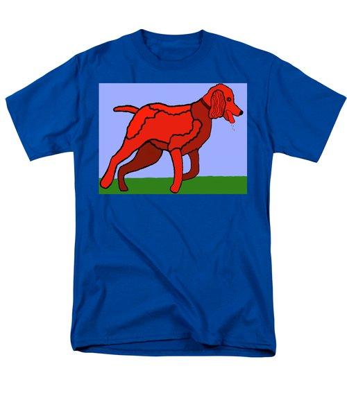 Cartoon Romping Miniature Apricot Poodle Men's T-Shirt  (Regular Fit)