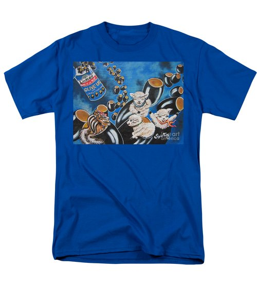 Men's T-Shirt  (Regular Fit) featuring the painting Chip And Dip In Space Olives by Sigrid Tune