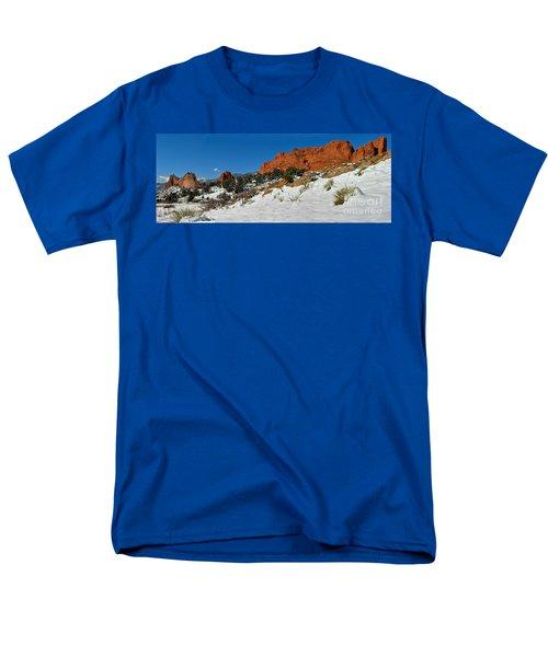 Men's T-Shirt  (Regular Fit) featuring the photograph Colorado Winter Red Rock Garden by Adam Jewell