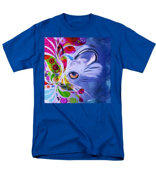 Men's T-Shirt  (Regular Fit) featuring the mixed media Colorful Cat World by Gabriella Weninger - David