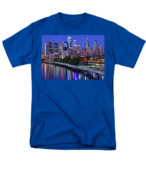 Men's T-Shirt  (Regular Fit) featuring the photograph Colorful Philly Night Lights by Frozen in Time Fine Art Photography