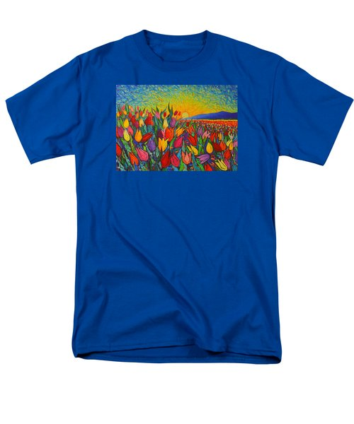 Colorful Tulips Field Sunrise - Abstract Impressionist Palette Knife Painting By Ana Maria Edulescu Men's T-Shirt  (Regular Fit) by Ana Maria Edulescu