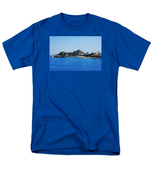 Men's T-Shirt  (Regular Fit) featuring the photograph Corfu Fortress On Blue Water by Robert Moss