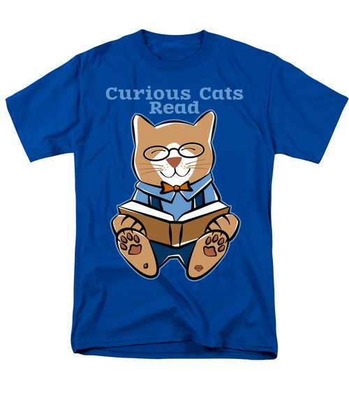 Curious Cats Read Books Men's T-Shirt  (Regular Fit) by Sue Cervenka