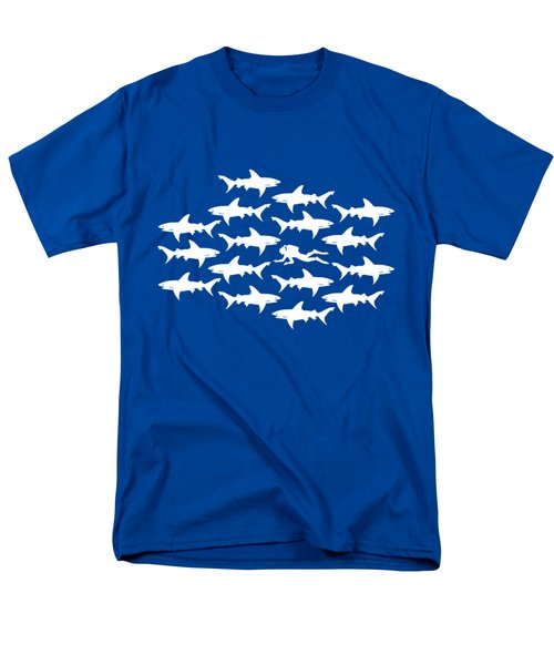Diver Swimming With Sharks Men's T-Shirt  (Regular Fit)