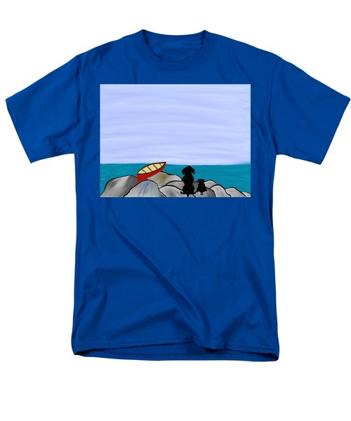 Men's T-Shirt  (Regular Fit) featuring the digital art Dogs At Beach by Paula Brown
