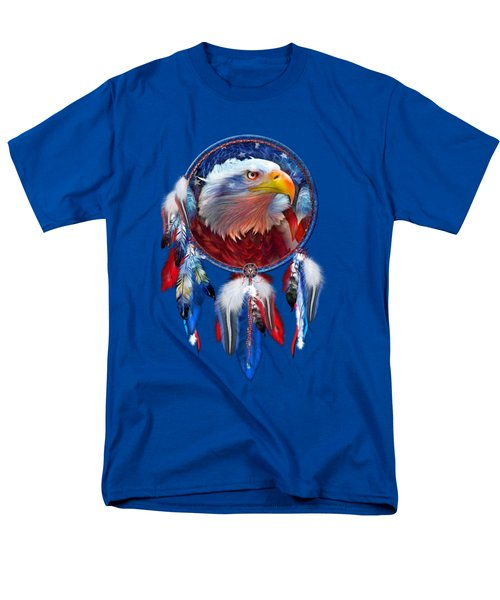 Men's T-Shirt  (Regular Fit) featuring the mixed media Dream Catcher - Eagle Red White Blue by Carol Cavalaris