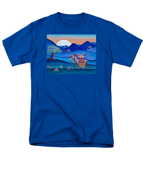 Men's T-Shirt  (Regular Fit) featuring the painting Elephant And Monkey Stroll by Lori Miller