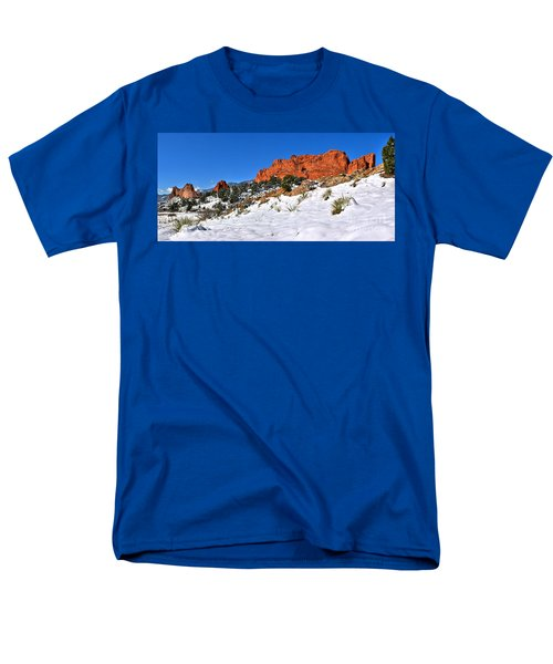 Men's T-Shirt  (Regular Fit) featuring the photograph Garden Of The Gods Red And White by Adam Jewell