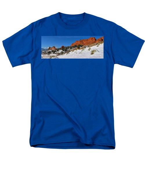 Men's T-Shirt  (Regular Fit) featuring the photograph Garden Of The Gods Snowy Blue Sky Panorama by Adam Jewell