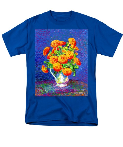 Men's T-Shirt  (Regular Fit) featuring the painting Gift Of Gold, Orange Flowers by Jane Small