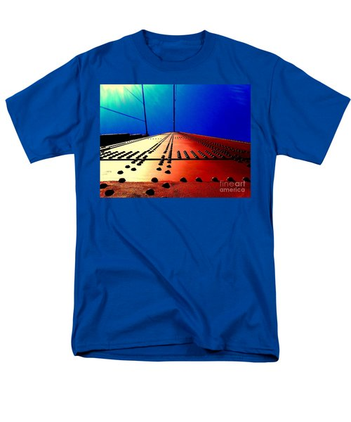 Golden Gate Bridge In California Rivets And Cables Men's T-Shirt  (Regular Fit) by Michael Hoard
