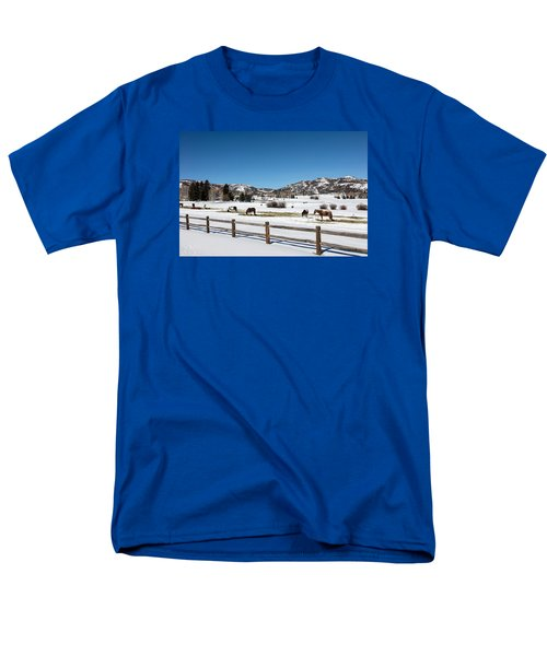 Horses On A Small Farm Near The Aspen Airport Men's T-Shirt  (Regular Fit) by Carol M Highsmith