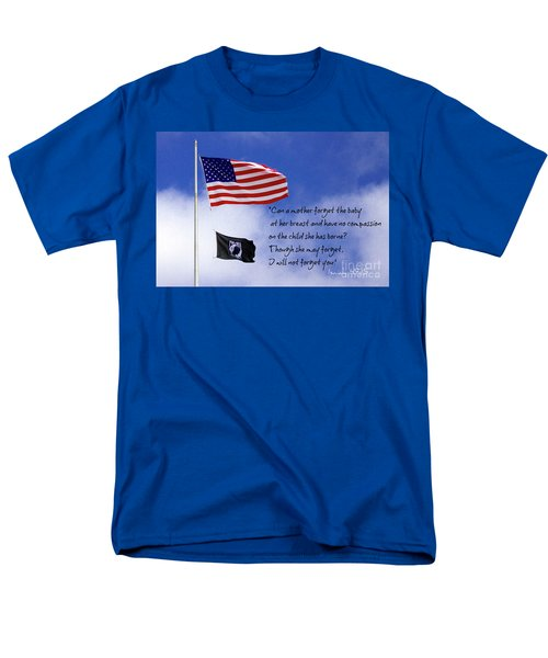 Men's T-Shirt  (Regular Fit) featuring the photograph I Will Not Forget You American Flag Pow Mia Flag Art by Reid Callaway