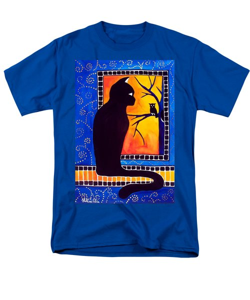 Insomnia - Cat And Owl Art By Dora Hathazi Mendes Men's T-Shirt  (Regular Fit) by Dora Hathazi Mendes