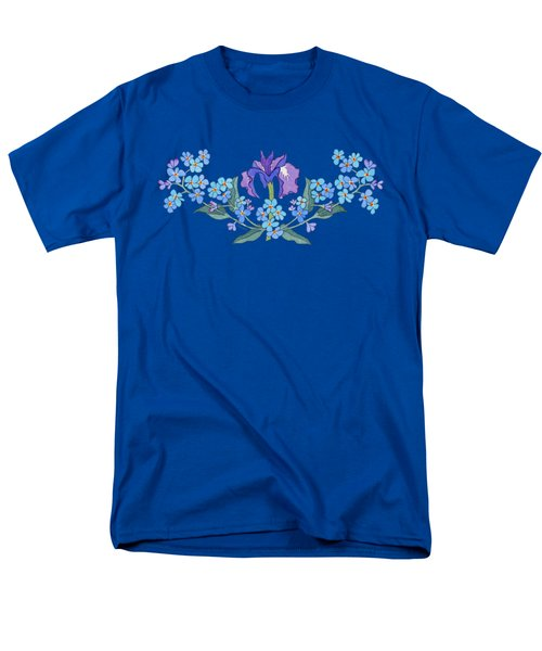 Iris And Forget Me Not Curved Garland Men's T-Shirt  (Regular Fit) by Teresa Ascone