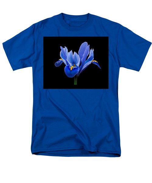 Iris Reticulata, Black Background Men's T-Shirt  (Regular Fit) by Paul Gulliver