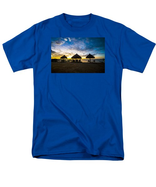 Island Huts Sunset Men's T-Shirt  (Regular Fit) by Kevin Cable