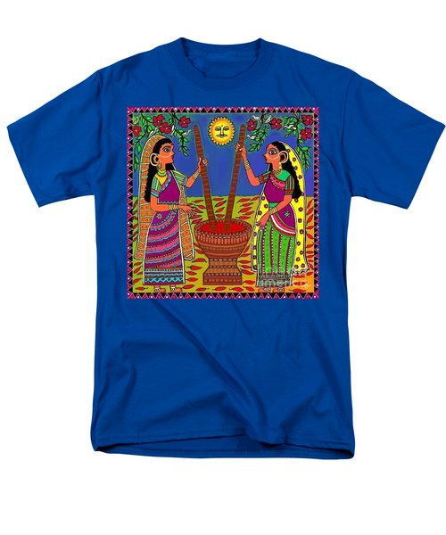 Men's T-Shirt  (Regular Fit) featuring the digital art Ladies Crushing Chili Peppers by Latha Gokuldas Panicker