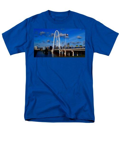 Margaret Hunt Hill Bridge Dallas Flood Men's T-Shirt  (Regular Fit) by Kathy Churchman