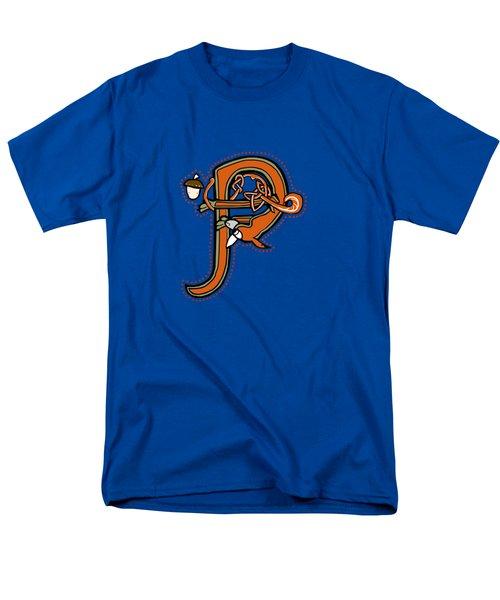 Medieval Squirrel Letter P Men's T-Shirt  (Regular Fit)