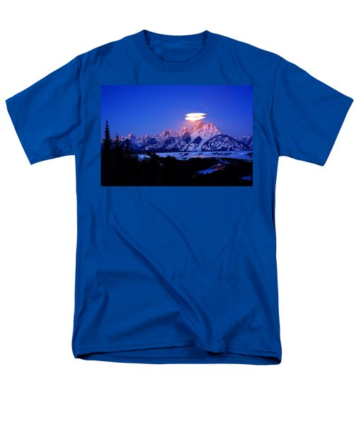 Moon Sets At The Snake River Overlook In The Tetons Men's T-Shirt  (Regular Fit) by Raymond Salani III
