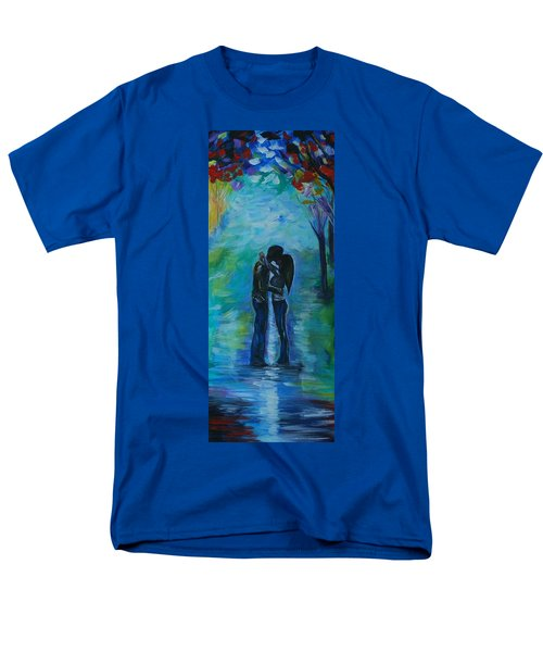 Men's T-Shirt  (Regular Fit) featuring the painting Moonlight Kiss Series 1 by Leslie Allen