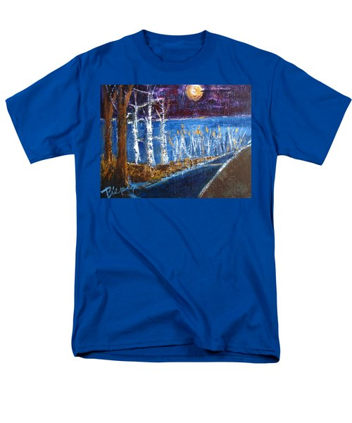 Men's T-Shirt  (Regular Fit) featuring the painting Moonlight On Path To Beach by Betty Pieper