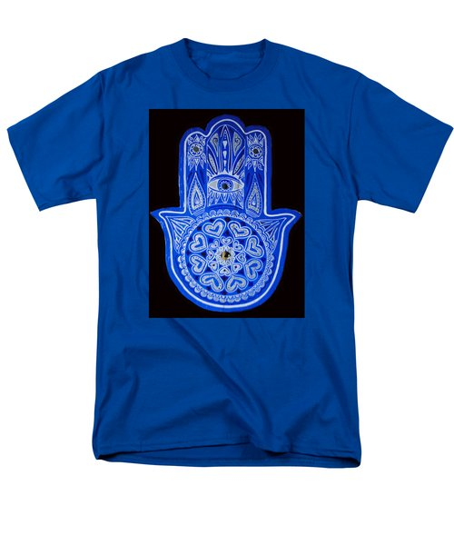 Men's T-Shirt  (Regular Fit) featuring the painting My Blue Hamsa by Patricia Arroyo