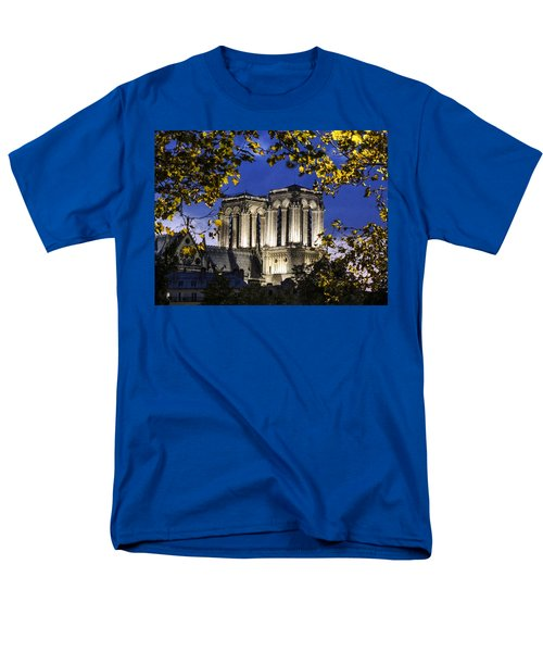 Men's T-Shirt  (Regular Fit) featuring the photograph Notre Dame At Night Paris by Sally Ross