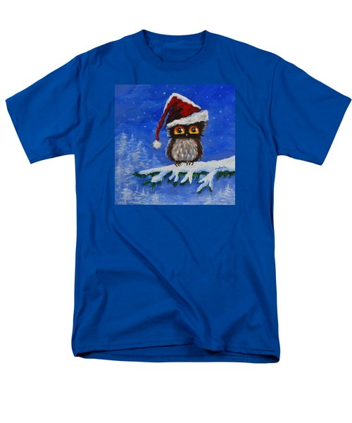 Men's T-Shirt  (Regular Fit) featuring the painting Owl Be Home For Christmas by Agata Lindquist