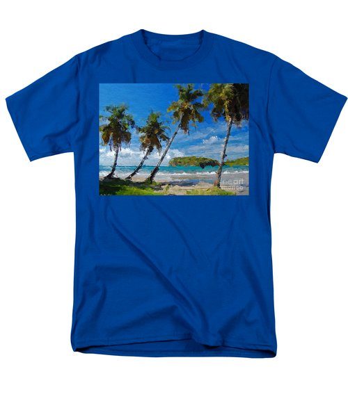 Palm Trees On Sandy Beach Men's T-Shirt  (Regular Fit) by Anthony Fishburne