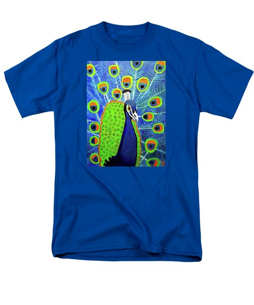 Men's T-Shirt  (Regular Fit) featuring the painting Peacock #3 by Margaret Harmon