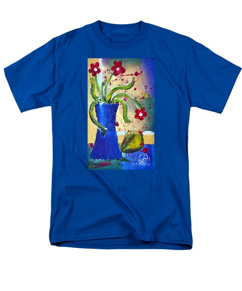 Pear And Red Flowers Men's T-Shirt  (Regular Fit) by Lynda Cookson