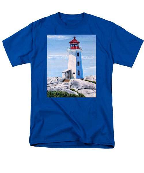 Men's T-Shirt  (Regular Fit) featuring the painting Peggy's Cove Lighthouse by Marilyn  McNish