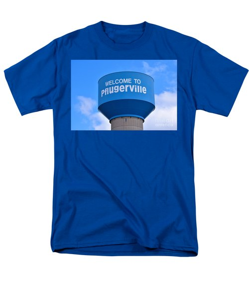 Pflugerville Texas - Water Tower Men's T-Shirt  (Regular Fit) by Ray Shrewsberry