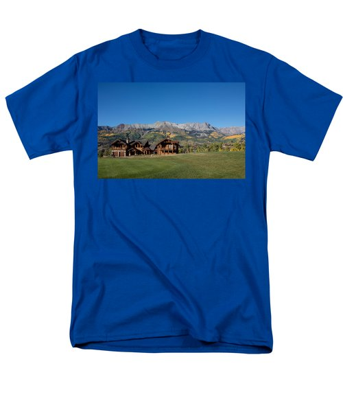 Men's T-Shirt  (Regular Fit) featuring the photograph Residences In Mountain Village -- A Planned Community Adjacent To Telluride by Carol M Highsmith