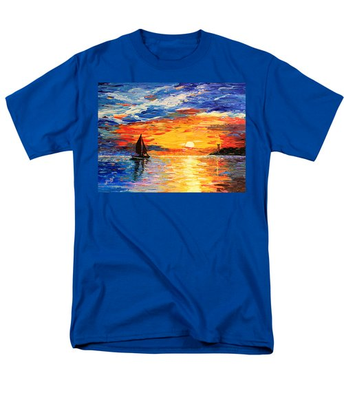 Men's T-Shirt  (Regular Fit) featuring the painting Romantic Sea Sunset by Georgeta  Blanaru