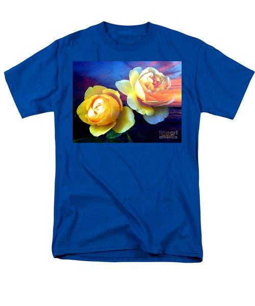 Roses Basking In A Ocean Sunset Men's T-Shirt  (Regular Fit) by Annie Zeno