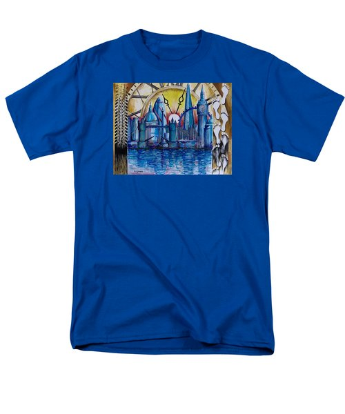 Men's T-Shirt  (Regular Fit) featuring the painting Rush Hour In London by Geni Gorani