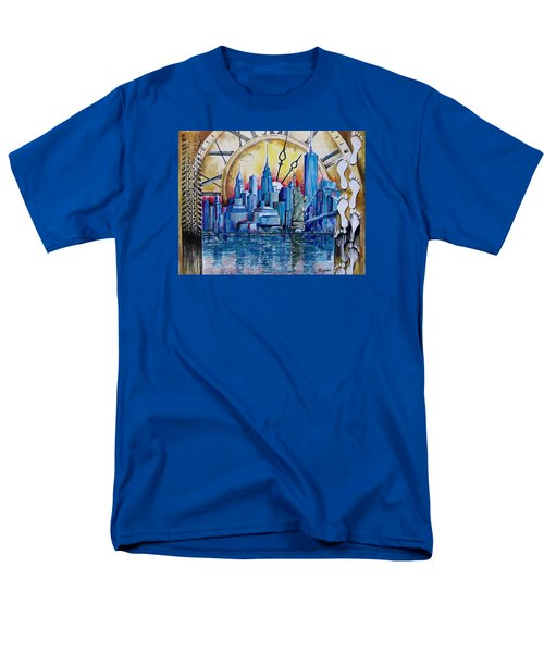 Men's T-Shirt  (Regular Fit) featuring the painting Rush Hour In New York  by Geni Gorani