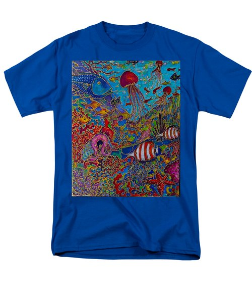 Men's T-Shirt  (Regular Fit) featuring the painting Sea World by Rae Chichilnitsky